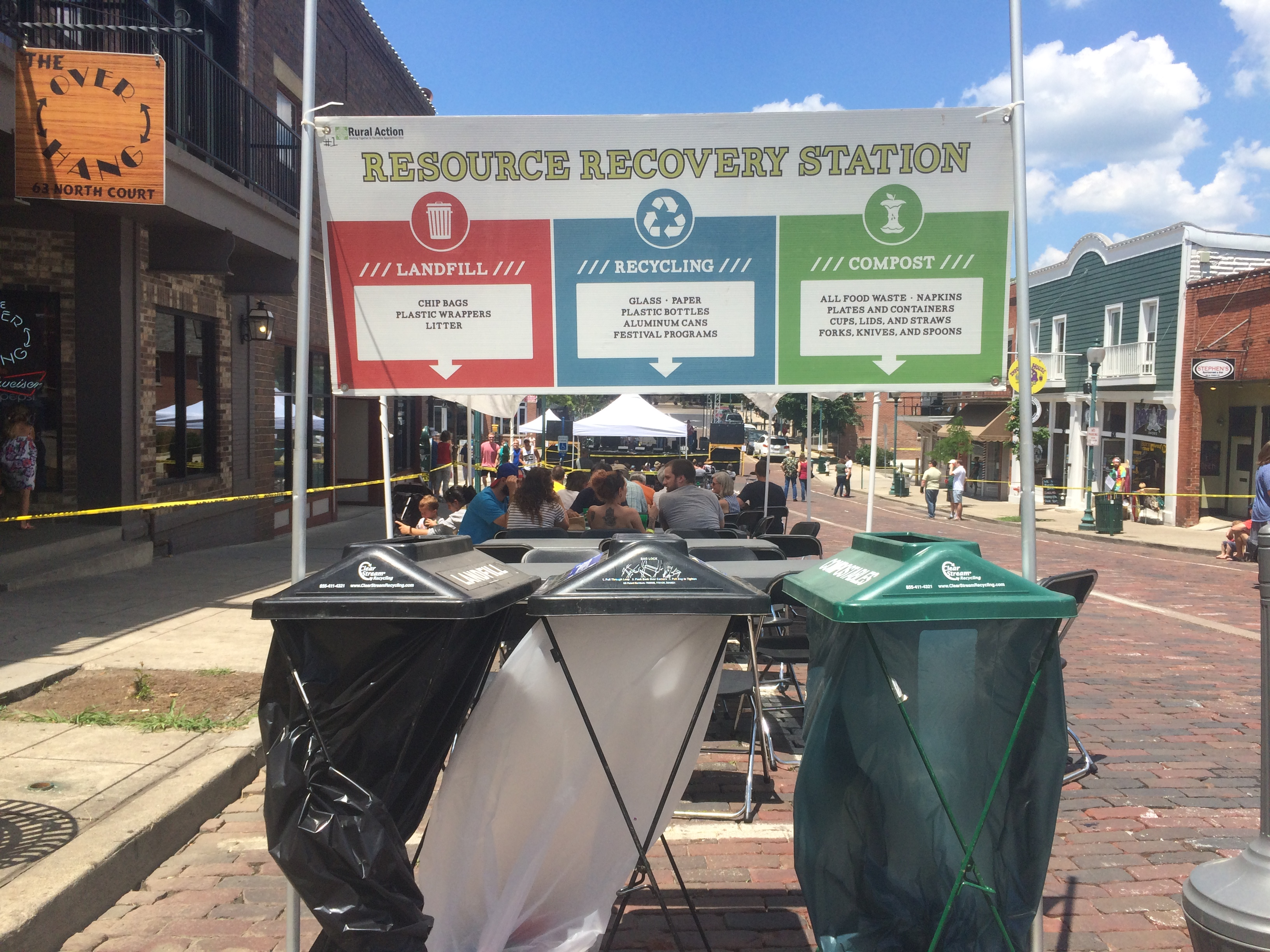 A Resource Recovery Station is set up at Boogie on the Bricks, 2016.
