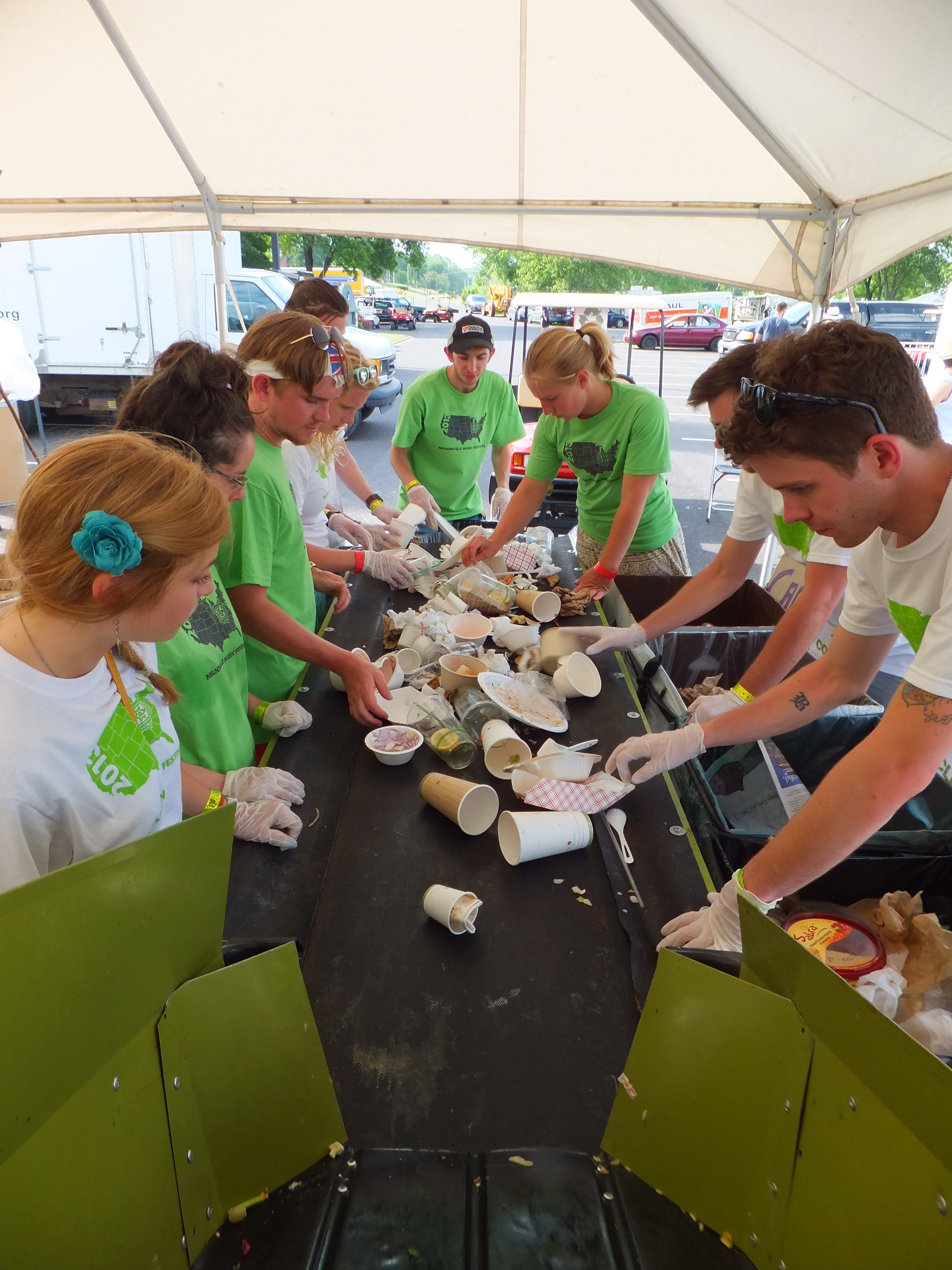 Volunteers sort compostables at Nelsonville Music Festival 2013.
