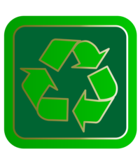 A stylized green recycling symbol sits against a square background.