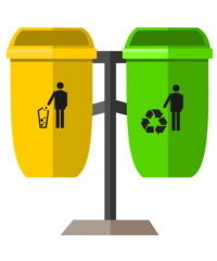 Two bins sit next to one another, one is labeled with a trash bin and the other is labeled with the recycling symbol.