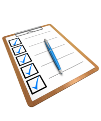 A clipboard holds a sheet of paper with checkmarks down the right side indicating everything has been done.