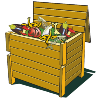 A wooden compost bin overflows with compostable material including eggplants, tomatoes, fish bones, and apple cores.