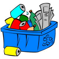 A blue recycling bin overflows with recycling including newspapers, aluminum cans, and glass bottles.