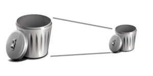 A large trash can is shrinking down to a smaller trash can representing waste reduction.