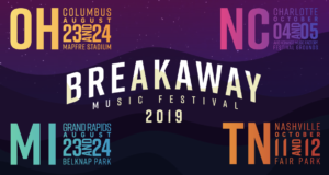 Breakaway Michigan Logo 2019 logos, Purple with Ohio, Michigan, North Carolina and Tennessee event dates