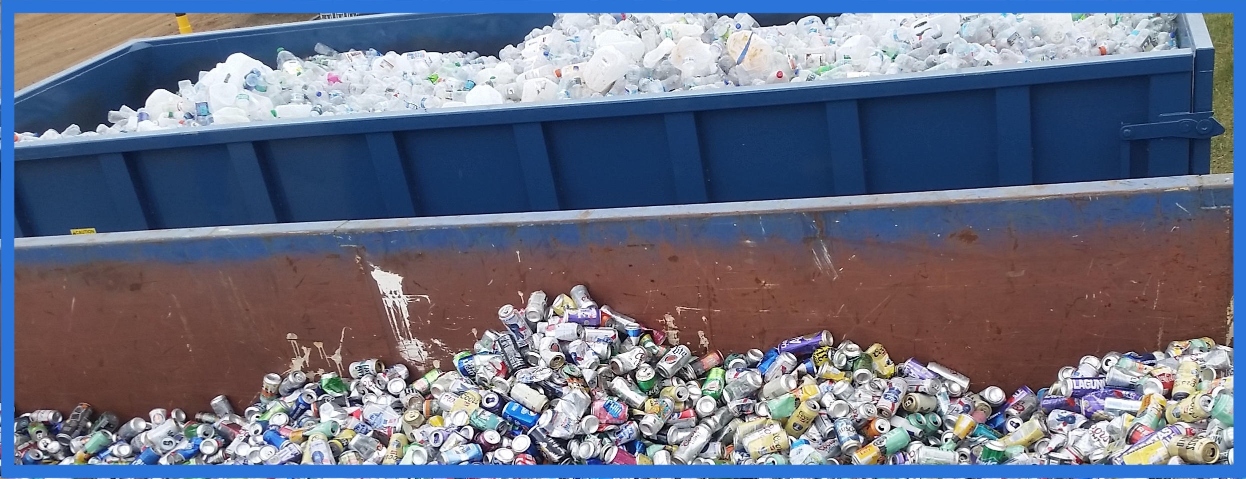 Two recycling dumpers: First is full of aluminum cans, second is full of plastic bottles. Clean Recycling.